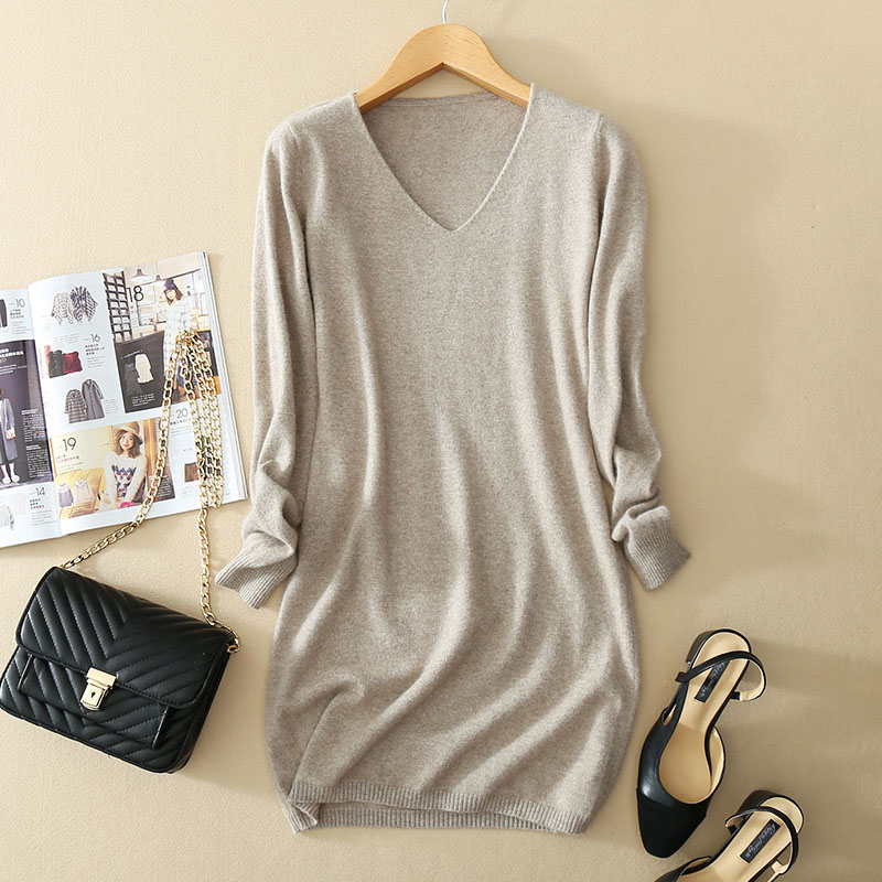 Cashmere Long Version Women sweaters and pullovers Tops Pull Femme Hiver jumper Sexy V-Neck Mini Knitted Sweater dress