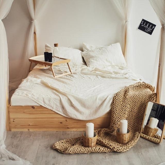 100% Hemp Bedding Set Australian Queen Size 152x203cm Gray Blue Pink Beige  White Colors 7