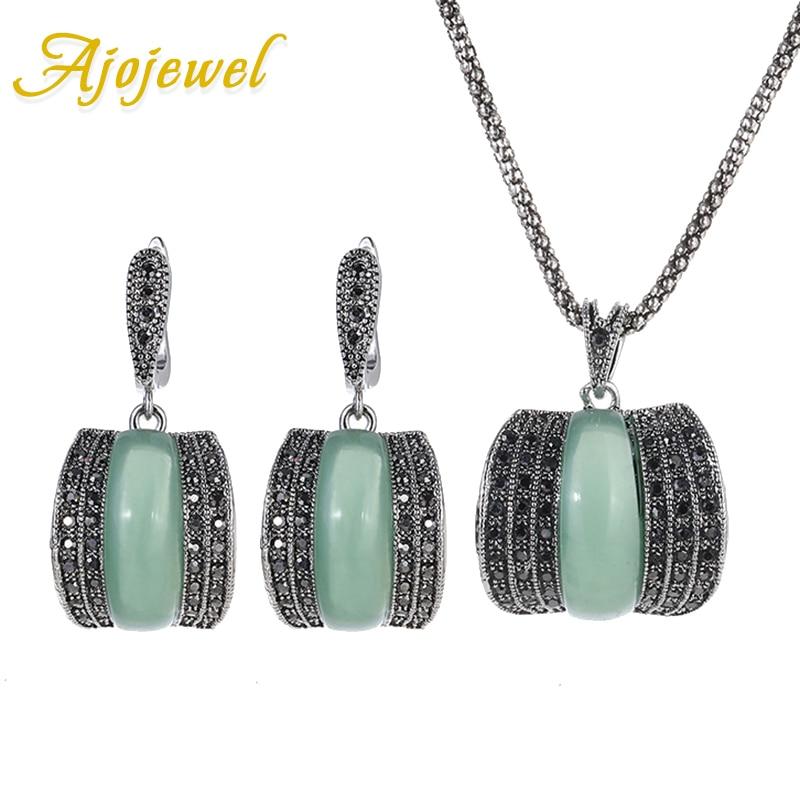 Ajojewel Oryginalne dzieła Vintage Zestawy biżuterii z zielonego kamienia dla kobiet Bijoux Lady Nowy model CZ Zestawy biżuterii