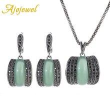 Ajojewel 2017 Original Green Stone Fine Vintage Jewelry Sets For Women Bijoux Femme New Model CZ Silver Plated Jewellery