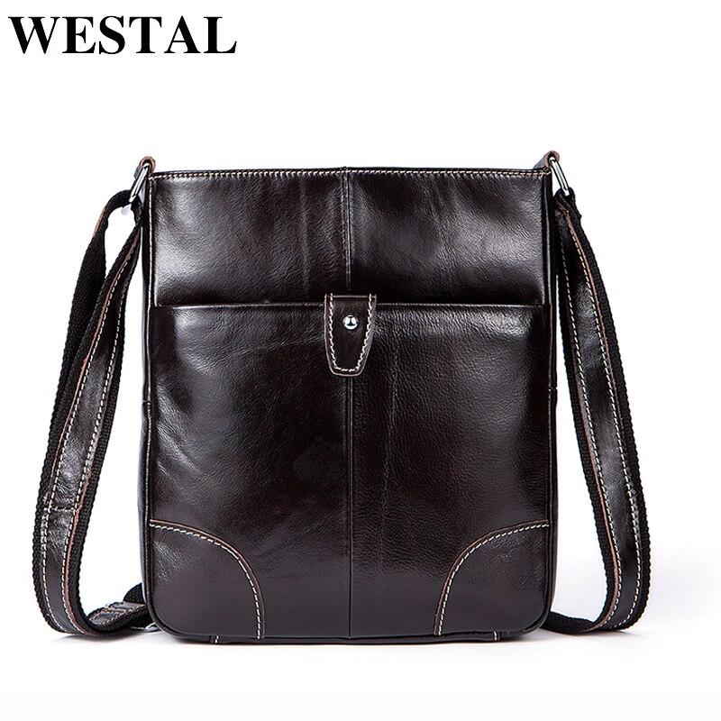 WESTAL Genuine Leather Men Bag Shoulder Crossbody Bags Small Flap Fashion Messenger Bag Men Leather Brand Mens Shoulder Bags