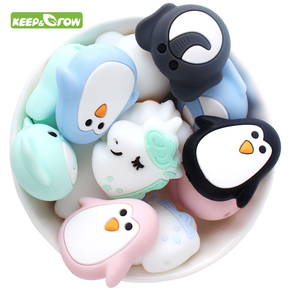 KEEP&GROW 10Pc Silicone Beads Unicorn Penguin Elephant Silicone Beads BPA Free Rodent DIY Making Necklace Teething Baby Products