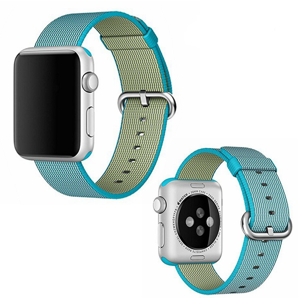 38/42mm Watchband for iWATCH With Adapters Woven Nylon Fabric Wrist Strap Replacement Band Black Blue Stainless Steel Buckle