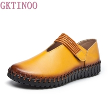 GKTINOO Fashion Women's Handmade Shoes Genuine Leather Flat Mother Shoes Woman Loafers Soft Comfortable Casual Shoes Women Flats