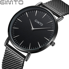 Gimto nueva hombres de acero llenos de relojes 2017 relojes ultra delgado las Mejores Marcas de Lujo Simple Relojes de Cuarzo Hombres Reloj Relogio Masculino