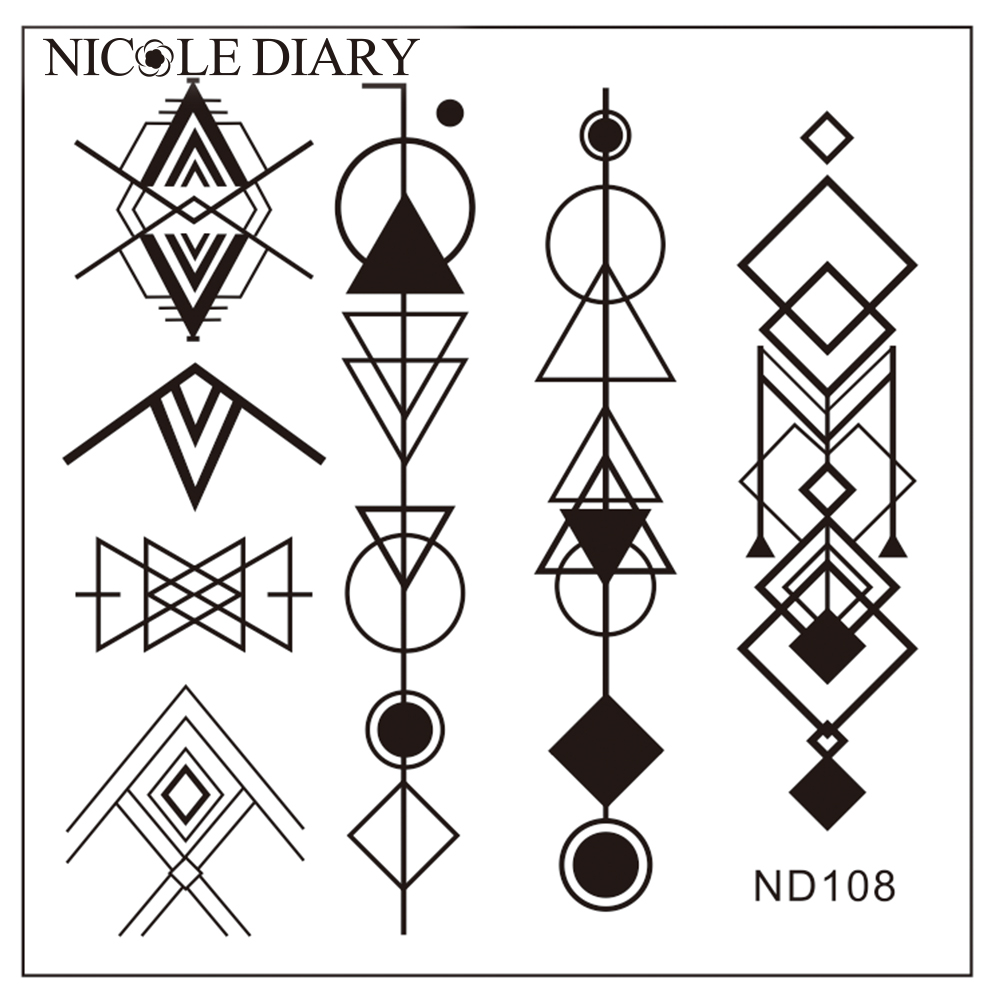 NICOLE DIARY Nail Art Stamping Image Plates Stainless Steel geometric Patterns High Quality DIY Stamping Template 26249