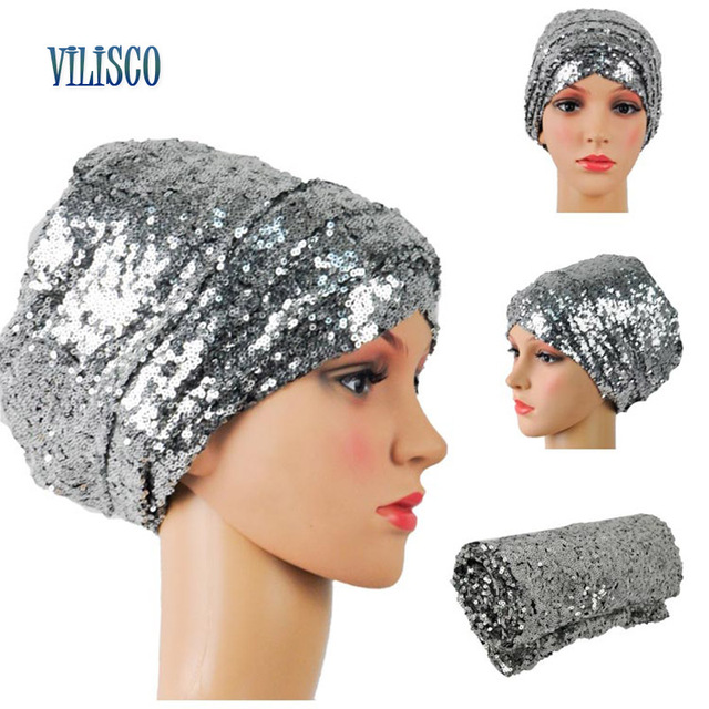 Multi-colored Headwear Sequin Turban African Headwrap African Headties Sego Gele Head Tie for Women Party Winter Headscarf XH05 3