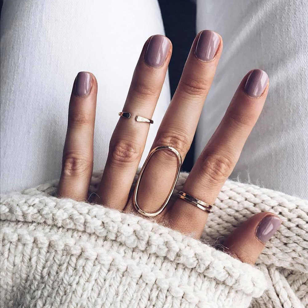 Fashion New Personality Simple Geometric Hollow Round Joint Ring 4 Piece Set Set Unisex Party Hundred Matching Accessories