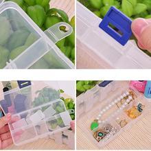 13×6.5×2.5cm 10 Slots Plastic Compartment Jewelry Necklace Big Storage Box Craft Organizer Container