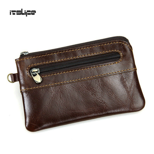 New Genuine Leather Coin Purse Leather Zipper Coin Pouch Men Women Coin Change Pocket Leather mini Bag monederos mujer monedas