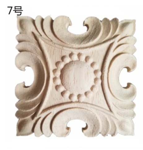 10Pieces/Lot 60x60mm Thickness:10-12mm  Joint Small Block Solid Wood Sculpture Square Decals Applique Home Decorative