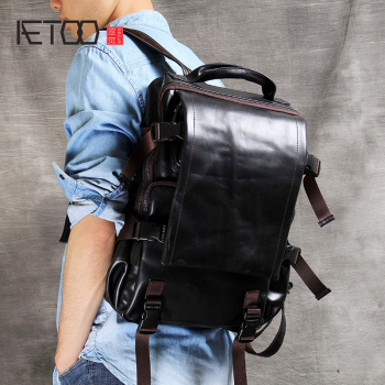 AETOO Head-layer cowhide shoulder mountaineering bag handmade male and female leather backpack classic casual travel Bag aetoo original shoulder bag leather retro backpack business computer bag head layer leather travel male bag college wind