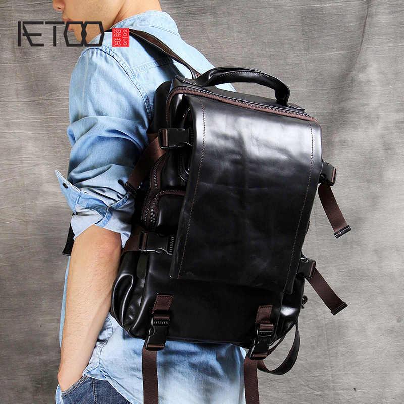 AETOO Kopf-schicht rindsleder schulter bergsteigen tasche handgemachte männlichen und weiblichen leder rucksack klassische casual reisetasche