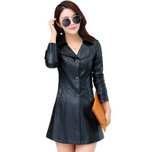 Single Breasted Long Faux Leather Jacket For Women 2016 New Fashion Female Outerwear Ladies PU Jackets And Coats
