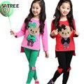 V-tree adolescente traje del color del caramelo de los bebés que arropan establece para las niñas chándal primavera otoño niños de los cabritos ropa 3-10 año
