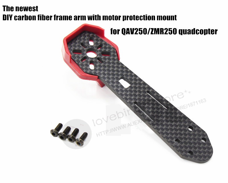 DIY carbon fiber frame arm with motor protection mount for QAV250 / ZMR250 FPV mini cross racing quadcopter drone 2pcs eachine falcon 250 carbon fiber arm motor mount spare parts for mini drone quadcopter rc helicopter multicopter part