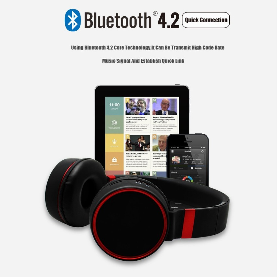 KHP ST10 Wireless Bluetooth Earphones Headphones With Microphone TF Card Gaming Headphones Headset For Computer TV Earbuds (3)