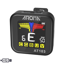 Aroma Clip On Tuner AT103 Power Rechargeable Chromatic For Guitar Bass Ukulele Violin Tuner Pitch 430-450Hz Cents Indicator