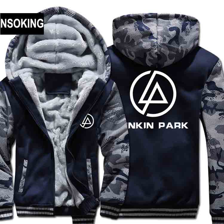 H0030 New Winter Warm LINKIN PARK Hoodies Rock Band Hooded Coat Thick Zipper men cardigan Jacket Sweatshirt