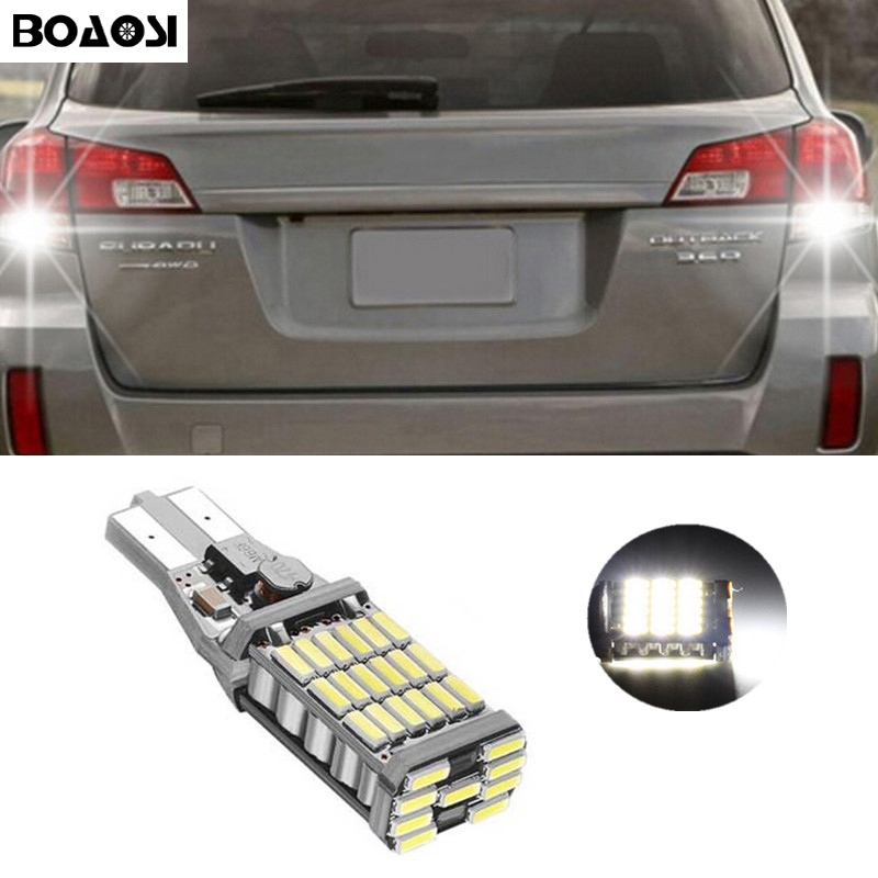 BOAOSI 1x Canbus Error Free T15 W16W 921 Car LED Lights Backup Reverse Lights for Subaru XV Forester 2013-2014 Outback 2015 ruiandsion 2x75w 900lm 15smd xbd chips red error free 1156 ba15s p21w led backup revers light canbus 12 24vdc