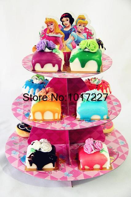 Free Shipping High Quality 1 Sets Cartoon Princess Birthday Baby Shower Party Cardboard Cupcake Stand Hold 24 Cupcakes AW 1007