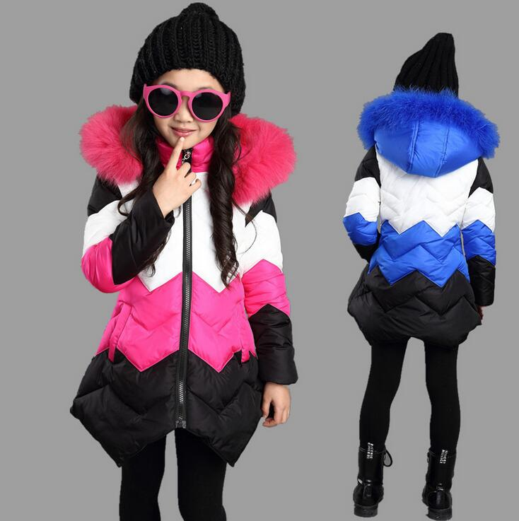 Fashion Contrast Color Girls Winter Jackets Coats Fake Fur Hooded Thick Warm Mid-long Parka Zipper Cotton Children's Parkas plus size women winter jackets lengthened down cotton coats high quality hooded fur collar parkas thick warm jackets okxgnz 1149