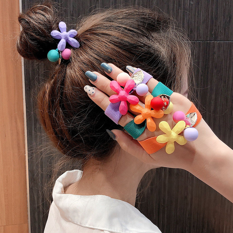 New Fashion Women Flower Ball Ponytail Holder Elastic Hair-Band Hair Accessories Ropes Sweet Girls Hairband