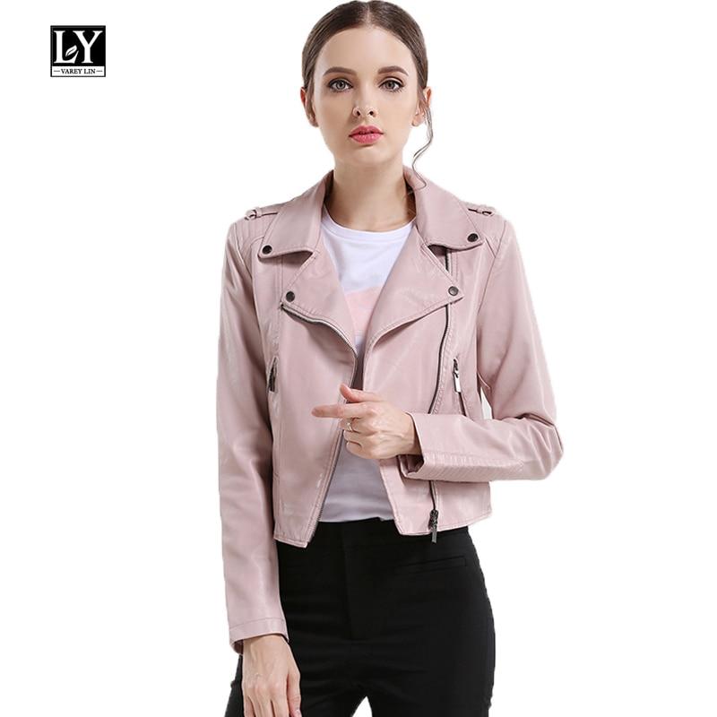 Ly Varey Lin Women Motorcycle Pu   Leather   Jacket Epaulet Zipper Faux Soft   Leather   Outerwear New 2019 Pink Biker Jacket Coat