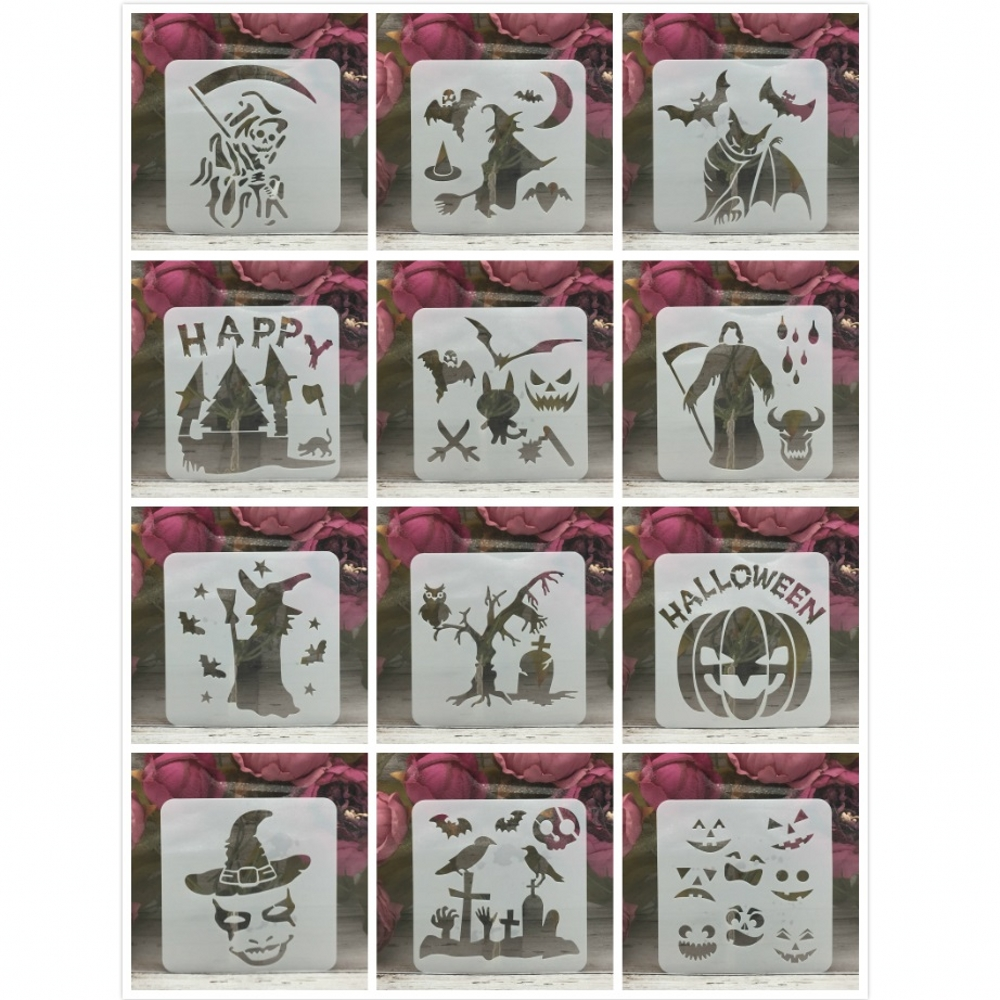 12Pcs 13*13cm Skull Witch Bat Halloween DIY Layering Stencils Painting Scrapbook Coloring Embossing Album Decorative Template