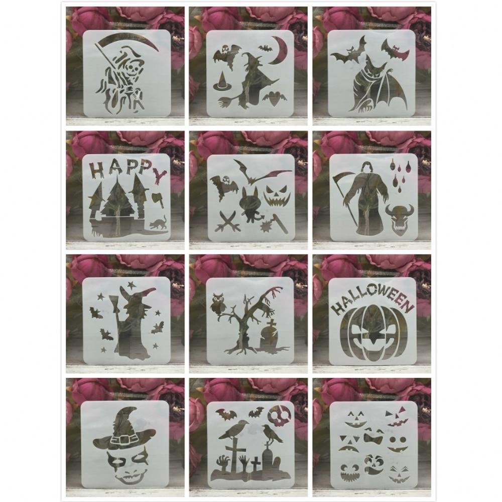 12Pcs 13*13cm Skull Witch Bat Halloween DIY Layering Stencils Painting Scrapbook Coloring Embossing Album Decorative Template