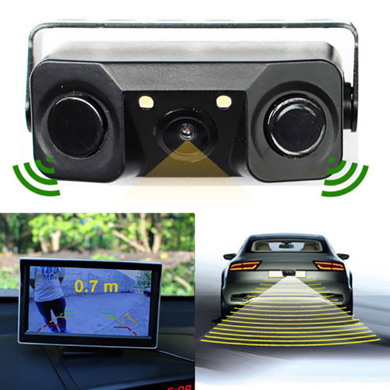 Wohnzimmer Wasserdichte Parkplatz Sensor 3In 1 Auto Parkplatz Umkehr Radar Sensoren Rückansicht Backup 170 Grad Kamera Mit Nacht Ansicht