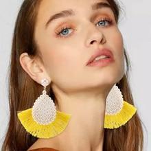 HOCOLE Fashion Tassel Dangle Earrings Statement Female Bohemian Pearl Fringed Drop For Women Wedding Party Jewelry Gift