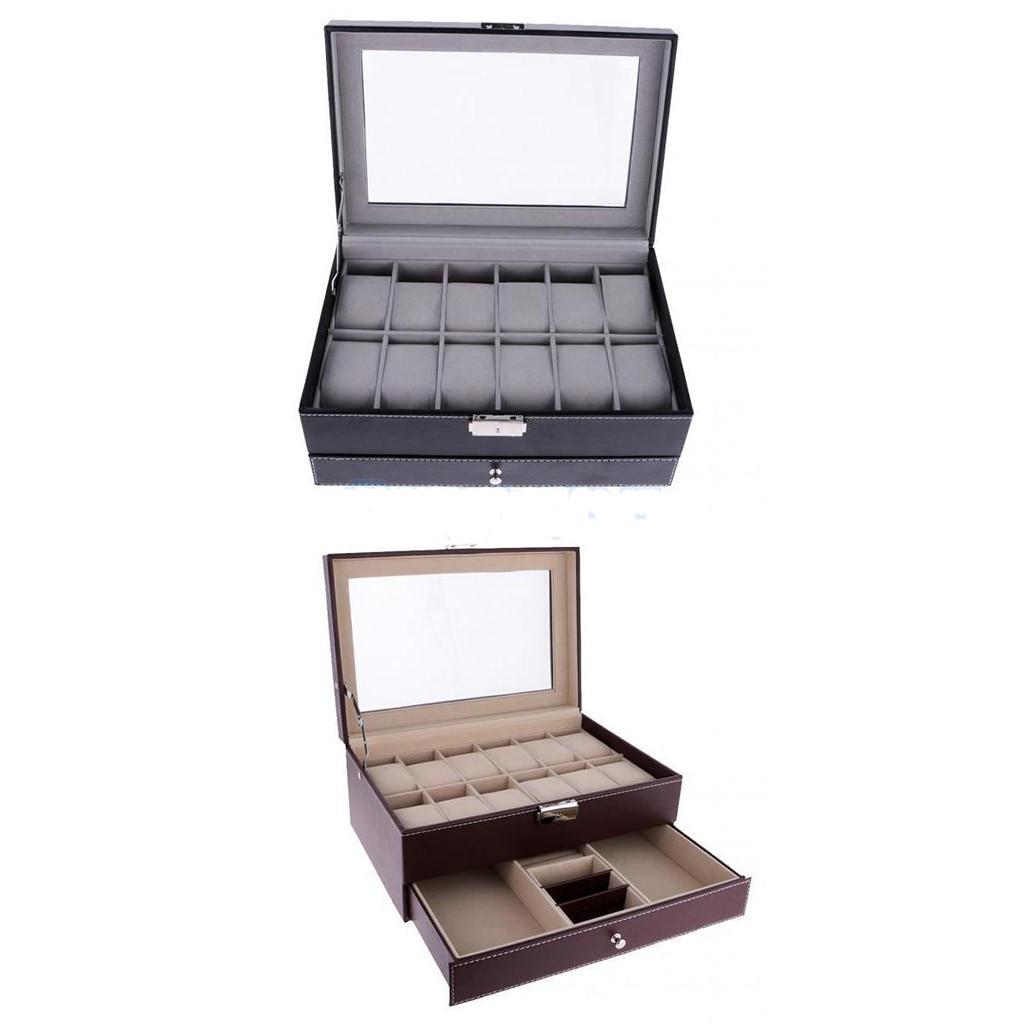 12 Slots Watch Bracelet Box Leather Display Top Glass Watch Jewelry Storage Case 12 slots wood watch display case watches box glass top jewelry storage organizer