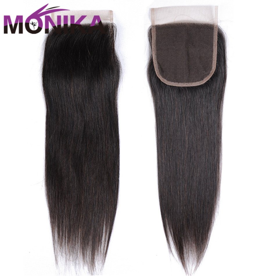Monika Brazilian Straight Human Hair Lace Top Closure Natural Color 4*4 Swiss Lace Middle Part Free Part Three Part Closure