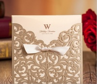 50pcs FREE SHIPPING Champagne Gold Vine Vintage Flower Wedding Invitation Card Cover Only With Bow NO