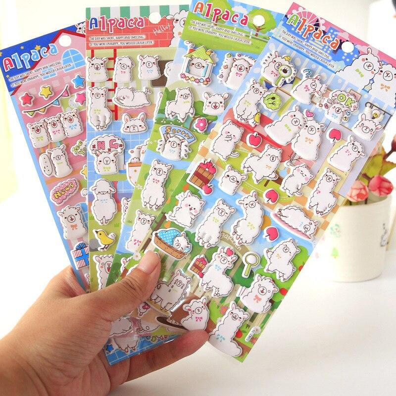 Alpaca Pasture 3D Decorative Stickers Adhesive Stickers DIY Decoration Diary Stationery Stickers Children Gift
