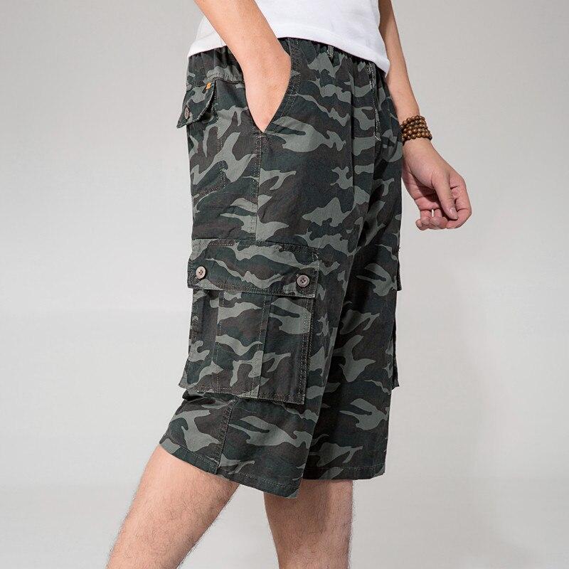 85 Thin Summer Short Man Multi-Pockets 4Xl 5Xl 6Xl Plus Size Casual Short-Pants Army Loose Elastic Waist Cargo Short Man