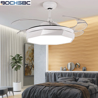 BOCHSBC Invisible Plastic Fan Lights For Dininig Room Bedroom Study Room Simple Modern Fan Hanging Light With LED Bulbs