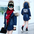 fur hooded long girl outerwear demin coat clothes teenage girls kids tops jeans jackets girls winter 2016 kids fur coat clothing