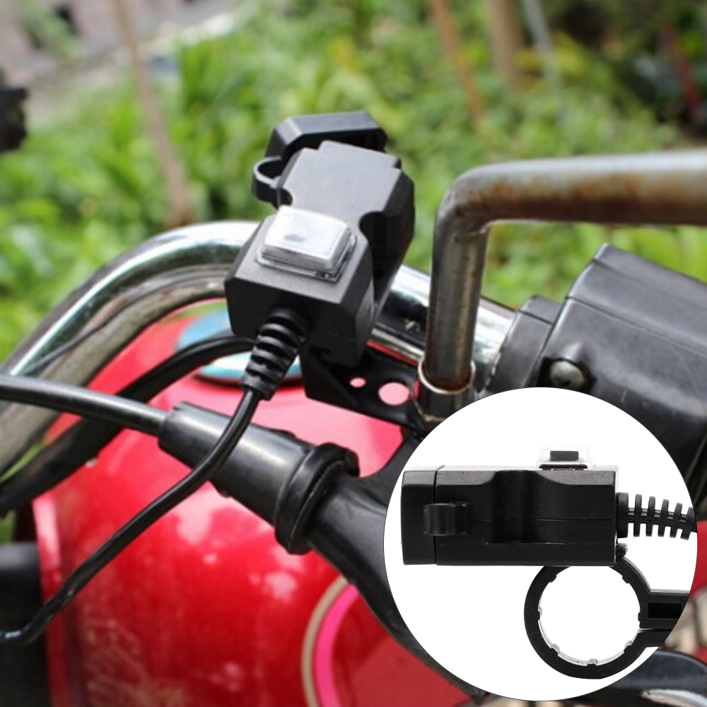 5V 1A/2.1A Adapter Power Supply Socket Motorcycle USB Socket Motorbike Handlebar Charger For Phone GPS Waterproof Dual USB Port