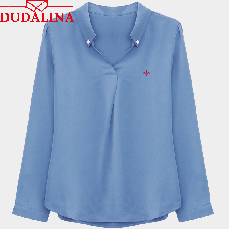 Dudalina Ladies Full Sleeve Sexy Blouse Lace-up Chiffon Solid Color Shirt Elegant Ladies Blouses Women Tops Blusas Feminino