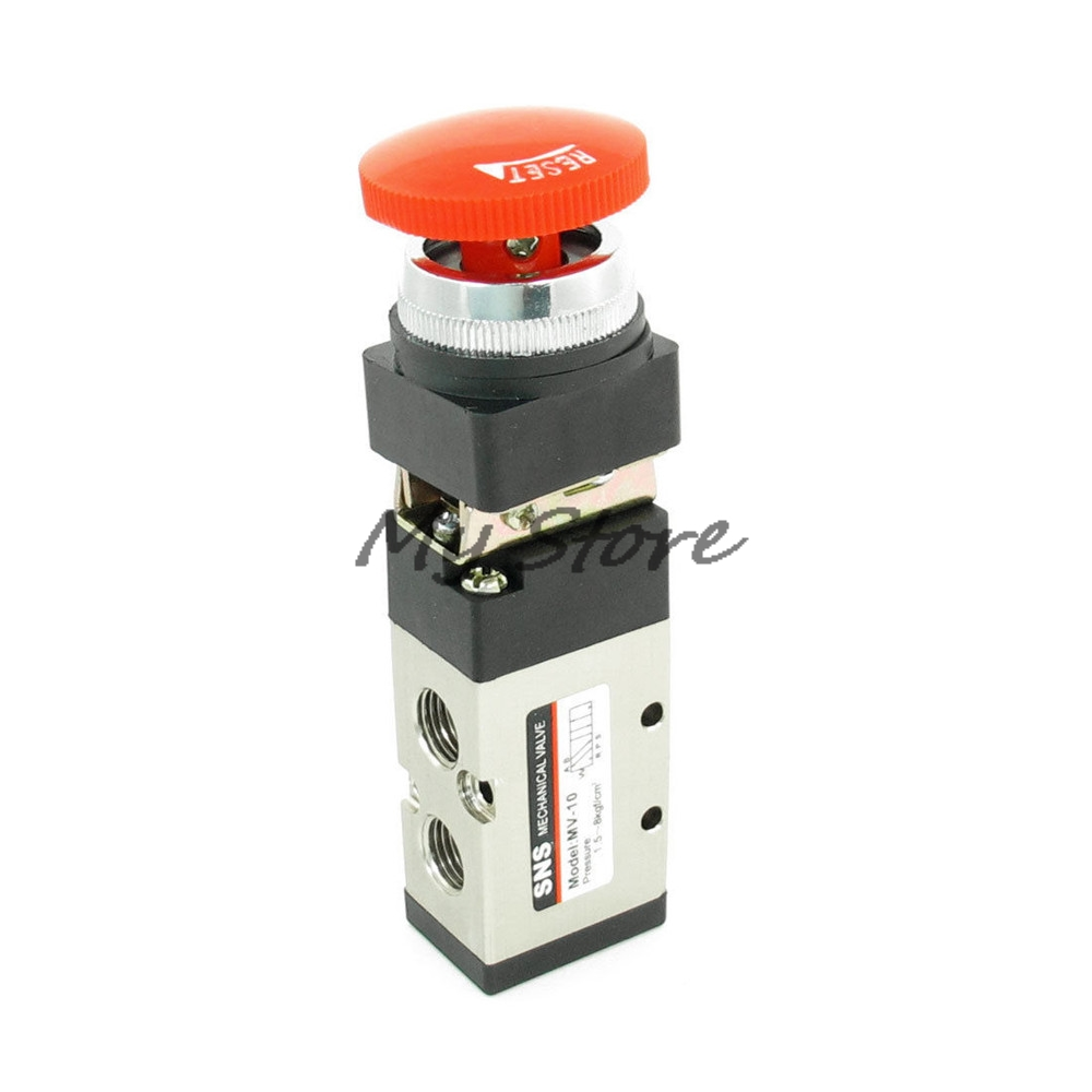 MV-10 2 Position 5 Way Emergency Red Mushroom Button Switch Air Mechanical Valve 3r310 10 2 position 5 way g3 8 port size hand push pull mechanical valve