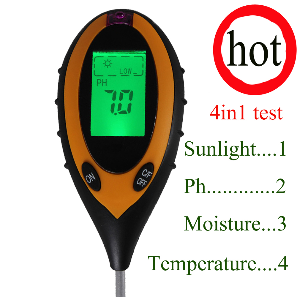 цена на 4 In1 PH soil moisture meter, garden /planting greenhouse Soil ph plants temperature and humidity display soil ph meter tester