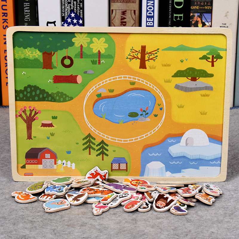30 cm Baby Spielzeug Montessori holz Puzzle/Hand Greifen Bord Set Pädagogisches Holz Spielzeug Cartoon Fahrzeug/Marine Tier puzzle Kind - 3