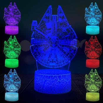 Cartoon Millennium Falcon 3D Lamp LED USB Illusion Mood Desk Table Beside Night Light Multicolor Lava Crack Christmas Gifts