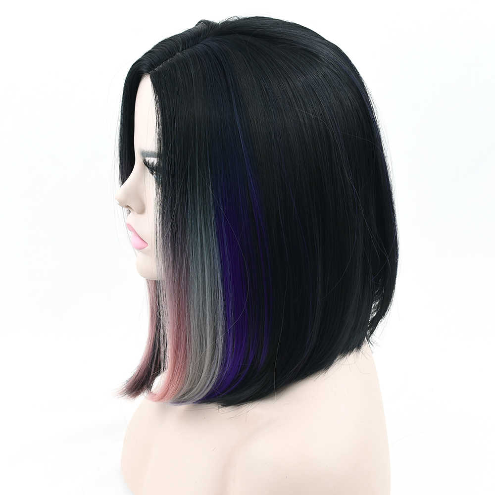 Soowee Synthetic Hair Short Straight Black To Gray Pink Ombre Hair Cosplay Wigs Party Hairstyle Wig Hair Accessories For Women Synthetic None Lace Wigs Aliexpress