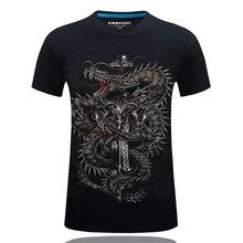 SALMAN  Summer Men's Brand Clothing O-Neck Short Sleeve Animal T-shirt 3D Digital Chinese dragon Printed T Shirt