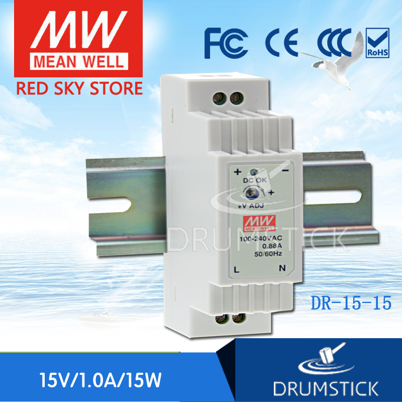 все цены на (only 11.11) MEAN WELL DR-15-15 15V 1A meanwell DR-15 15V 15W Single Output Industrial DIN Rail Power Supply [Hot1] онлайн