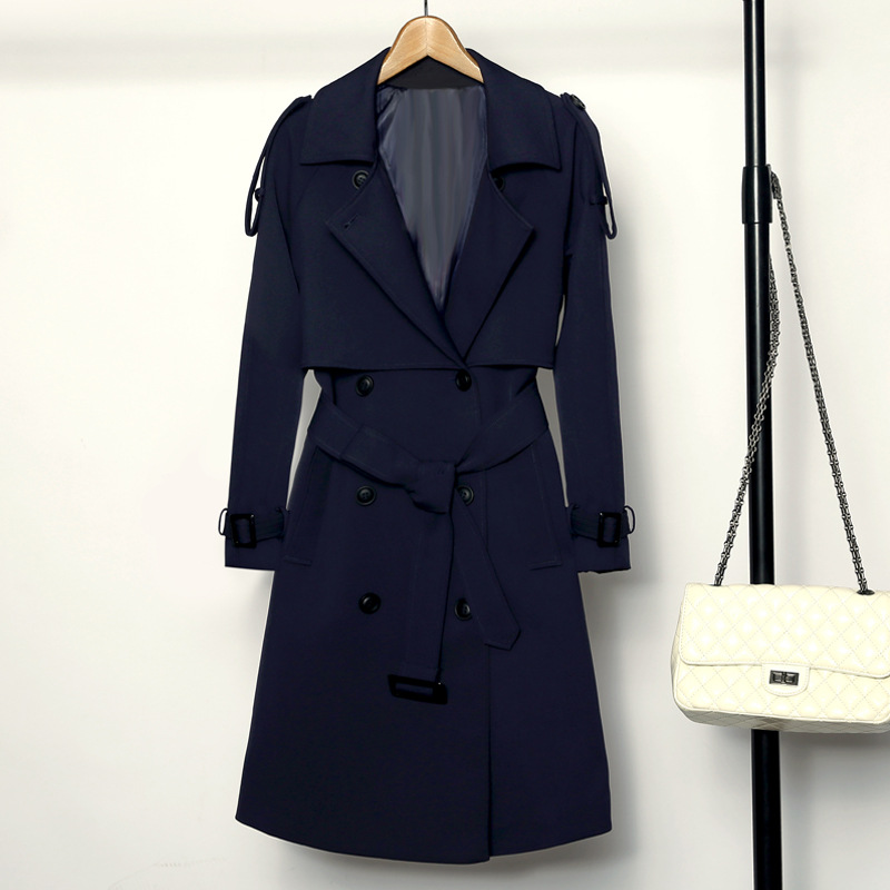 New Arrival Women Fashion Overcoat Solid Navy Female Windbreaker Double Breasted   Trench   Office Coat Chic Women's Long Coat