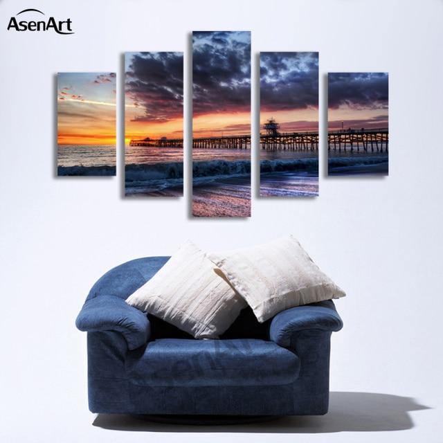 5 Panel Seaside Walkway Sunset Painting Wall Art Canvas Prints ...